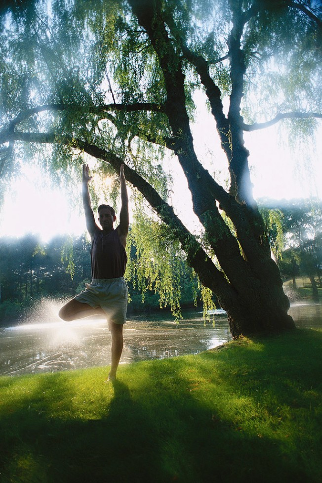 Man Performing Yoga by Lake