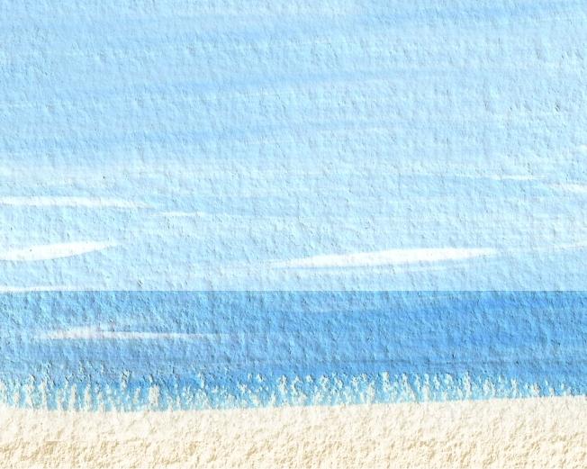 beach sea sky painting