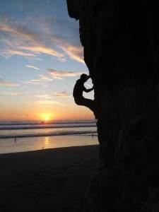 bouldering on Stimson beach