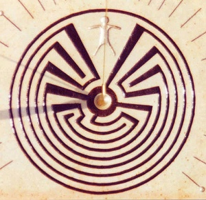 'Man in the Maze Sundial Carving' by John Carmichael