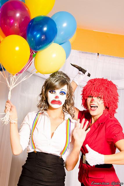 clowning around together